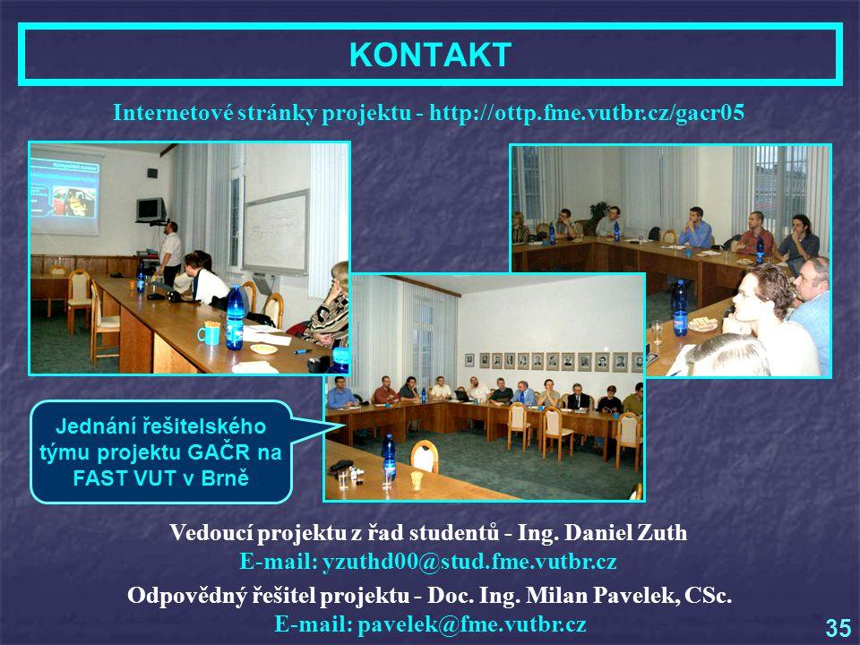KONTAKT Internetové stránky projektu - http://ottp.fme.vutbr.cz/gacr05 Odpovědný řešitel projektu - Doc.