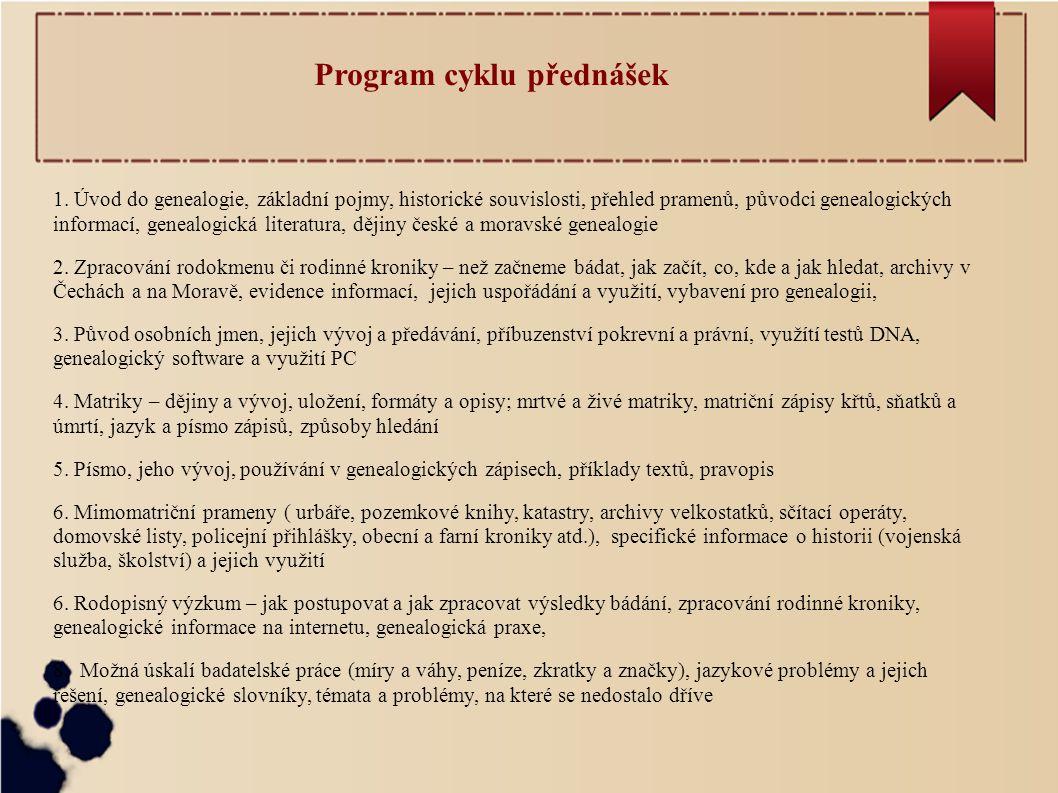Program cyklu přednášek 1.