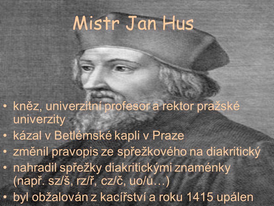 Mistr Jan Hus kněz, univerzitní profesor a rektor pražské univerzity kázal v Betlémské kapli v Praze změnil pravopis ze spřežkového na diakritický nah