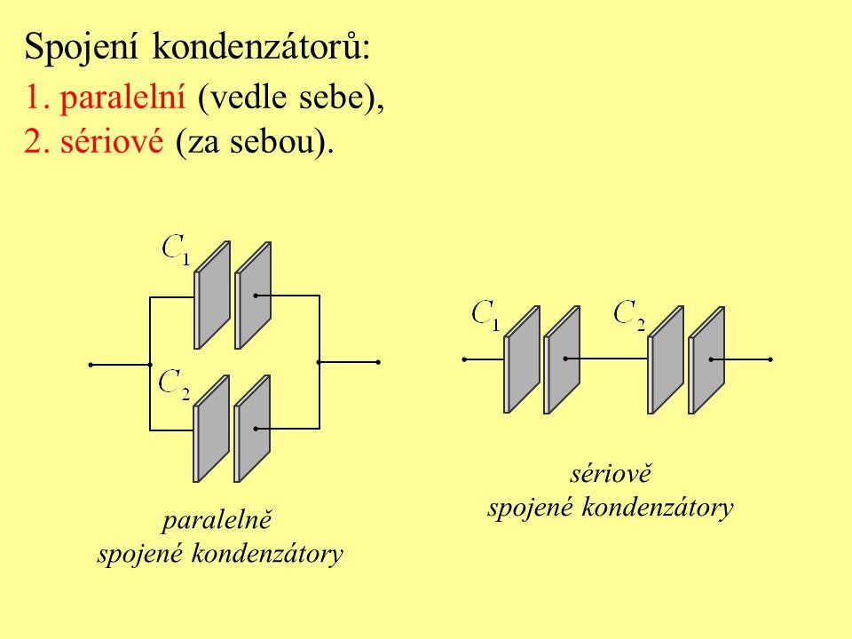 Spojení kondenzátorů: 1. paralelní (vedle sebe), 2. sériové (za sebou). paralelně spojené kondenzátory sériově spojené kondenzátory