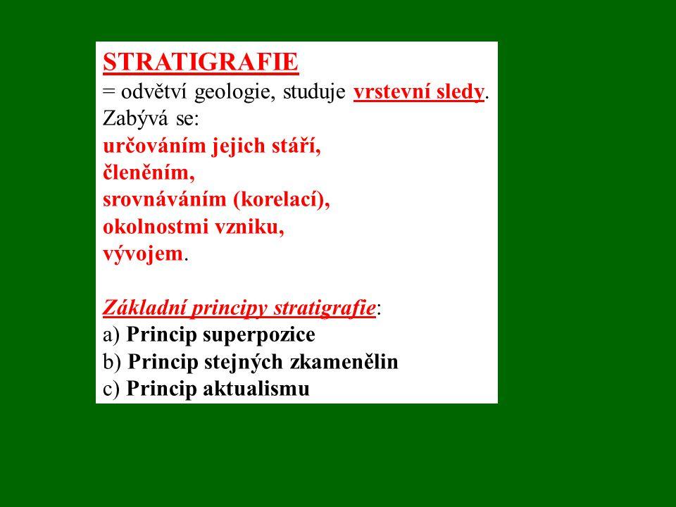 STRATIGRAFIE = odvětví geologie, studuje vrstevní sledy. Zabývá se: určováním jejich stáří, členěním, srovnáváním (korelací), okolnostmi vzniku, vývoj