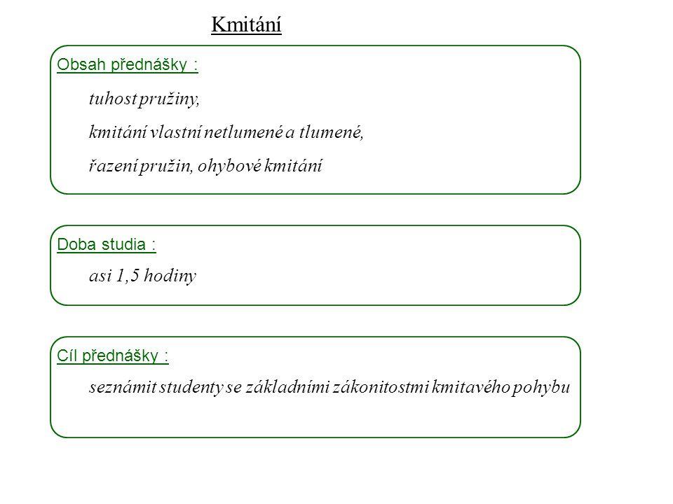 k1k1 k2k2 F  F FD1FD1 FD2FD2 F kCkC skládání pružin Dynamika I, 11.