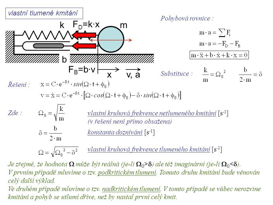 vlastní tlumené kmitání k xv, a b F B =b·v F D =k·x Dynamika I, 11. přednáška Pohybová rovnice : Substituce : Řešení : Zde : vlastní kruhová frekvence