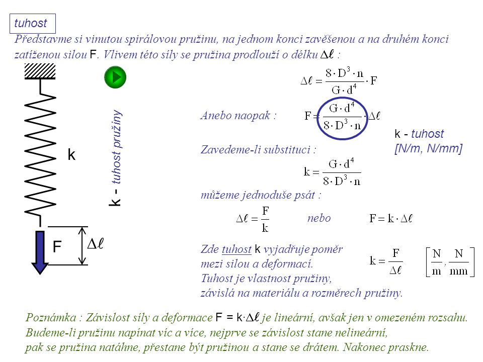 k F  k - tuhost pružiny Dynamika I, 11. přednáška Zavedeme-li substituci : k - tuhost [N/m, N/mm] můžeme jednoduše psát : nebo Zde tuhost k vyjadřuje