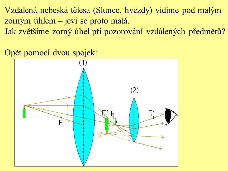 Keplerův (hvězdářský) dalekohled - skládá se ze 2 spojek - spojka blíže oka (okulár) má menší ohniskovou vzdálenost - spojka blíže předmětu (objektiv) má větší ohniskovou vzdálenost ( obraz předmětu je zvětšený, převrácený, zdánlivý ).