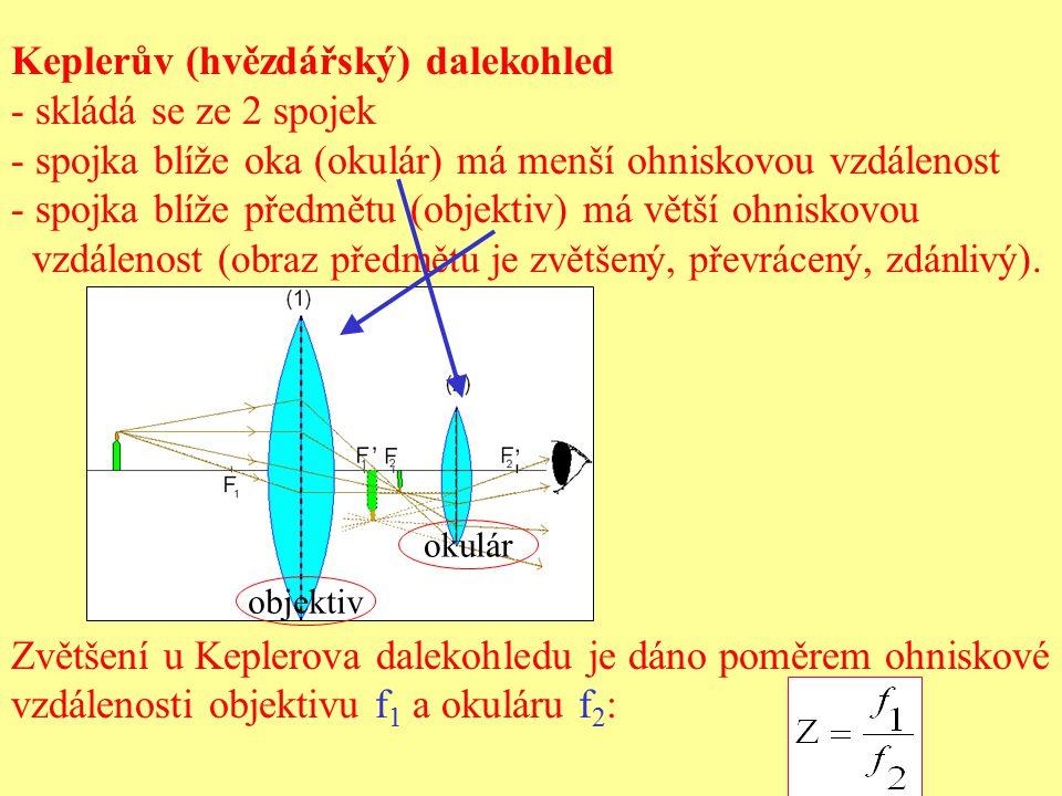 Keplerův (hvězdářský) dalekohled - skládá se ze 2 spojek - spojka blíže oka (okulár) má menší ohniskovou vzdálenost - spojka blíže předmětu (objektiv)