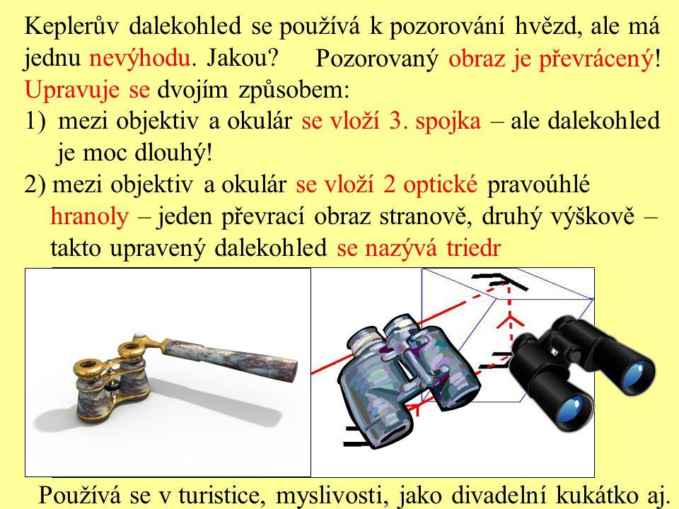Otázky 1.Jaké čočky se používají v Keplerově dalekohledu a jak jsou uspořádány.