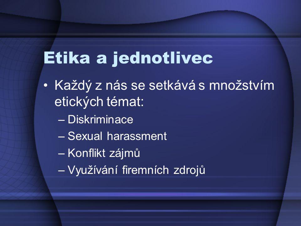 Etika a jednotlivec Každý z nás se setkává s množstvím etických témat: –Diskriminace –Sexual harassment –Konflikt zájmů –Využívání firemních zdrojů