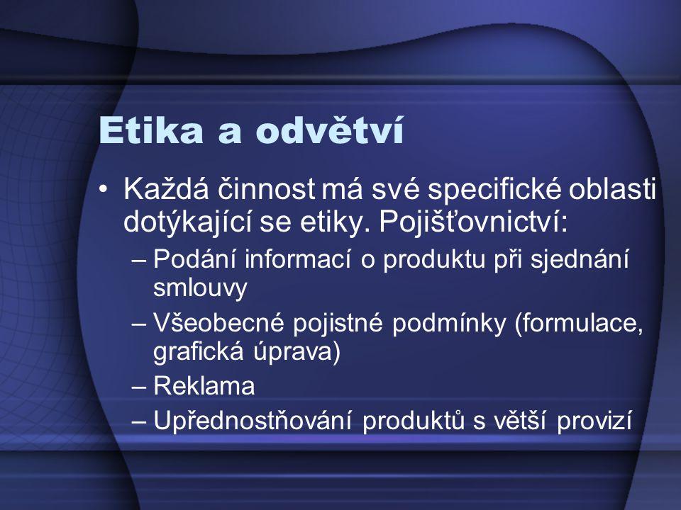 Etika a odvětví Každá činnost má své specifické oblasti dotýkající se etiky. Pojišťovnictví: –Podání informací o produktu při sjednání smlouvy –Všeobe