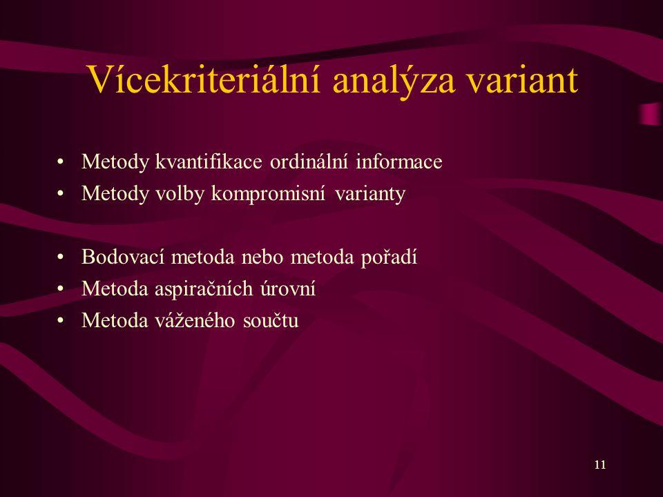 11 Vícekriteriální analýza variant Metody kvantifikace ordinální informace Metody volby kompromisní varianty Bodovací metoda nebo metoda pořadí Metoda