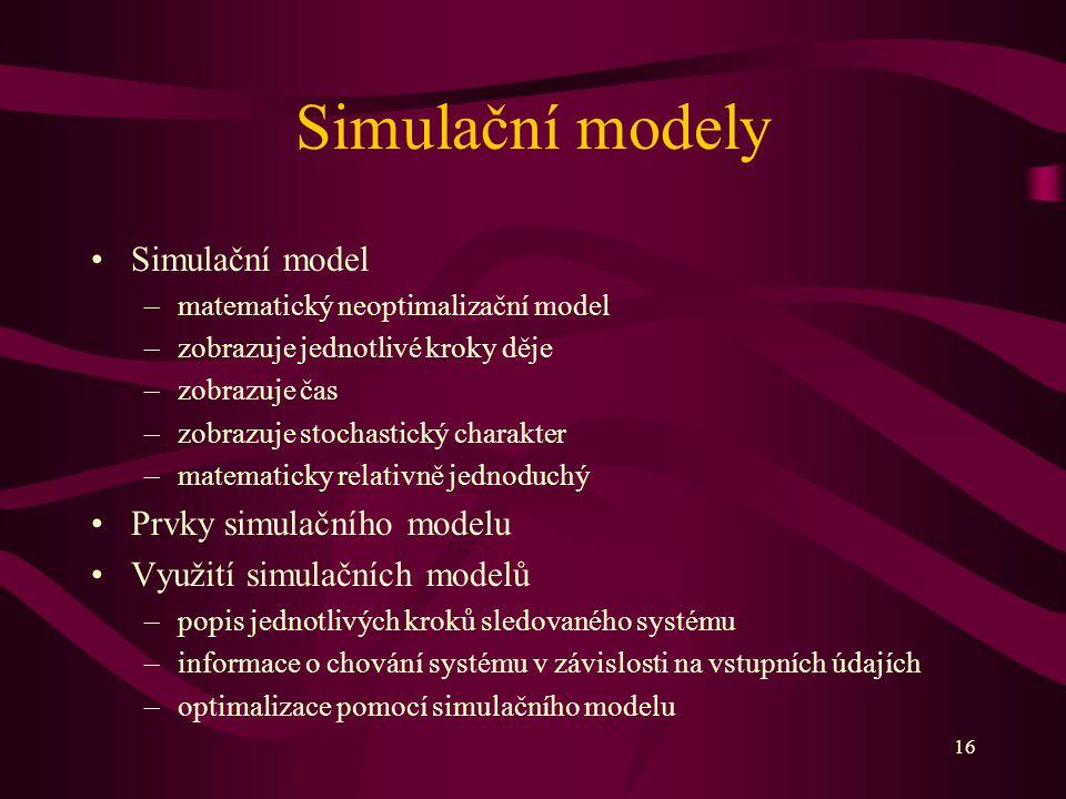 16 Simulační modely Simulační model –matematický neoptimalizační model –zobrazuje jednotlivé kroky děje –zobrazuje čas –zobrazuje stochastický charakt