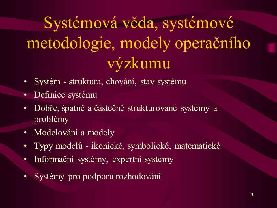 3 Systémová věda, systémové metodologie, modely operačního výzkumu Systém - struktura, chování, stav systému Definice systému Dobře, špatně a částečně