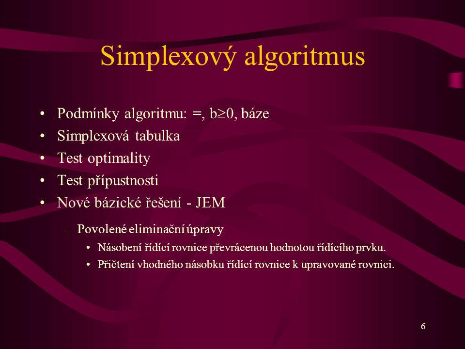 6 Simplexový algoritmus Podmínky algoritmu: =, b  0, báze Simplexová tabulka Test optimality Test přípustnosti Nové bázické řešení - JEM –Povolené el