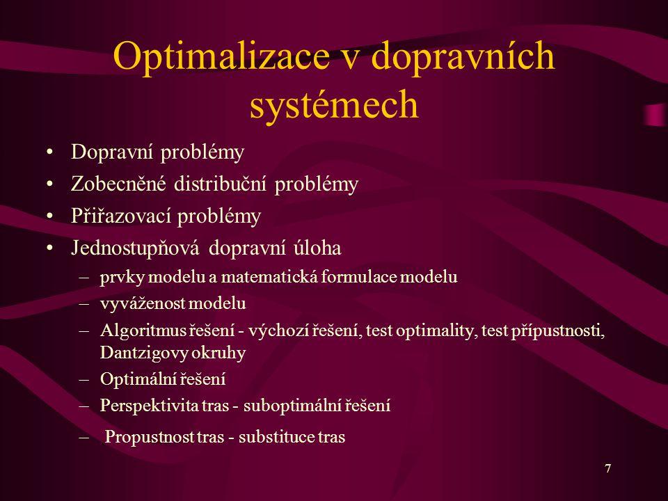 7 Optimalizace v dopravních systémech Dopravní problémy Zobecněné distribuční problémy Přiřazovací problémy Jednostupňová dopravní úloha –prvky modelu