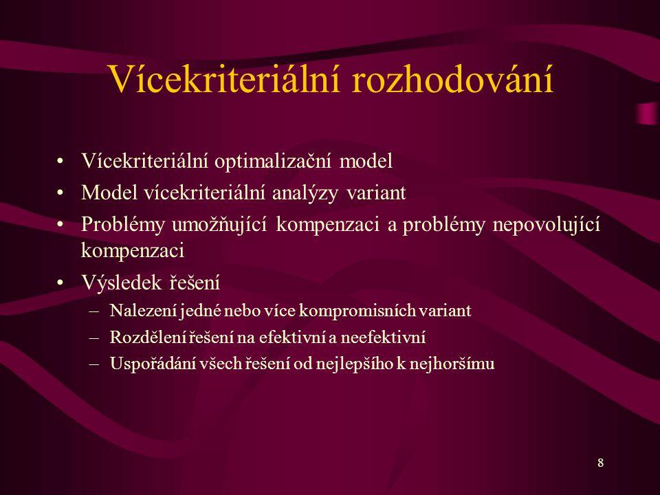 8 Vícekriteriální rozhodování Vícekriteriální optimalizační model Model vícekriteriální analýzy variant Problémy umožňující kompenzaci a problémy nepo