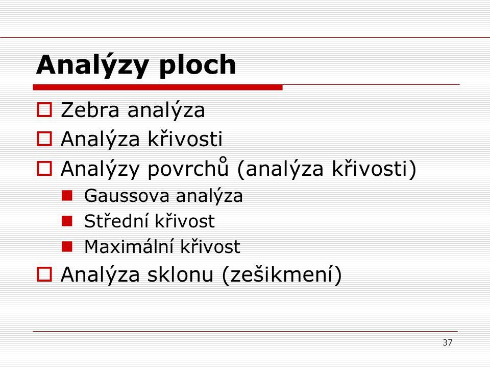 37 Analýzy ploch  Zebra analýza  Analýza křivosti  Analýzy povrchů (analýza křivosti) Gaussova analýza Střední křivost Maximální křivost  Analýza sklonu (zešikmení)