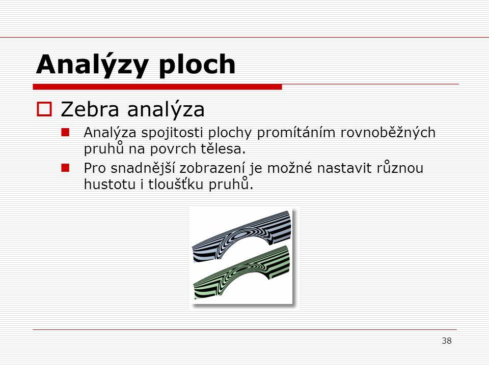 38 Analýzy ploch  Zebra analýza Analýza spojitosti plochy promítáním rovnoběžných pruhů na povrch tělesa.