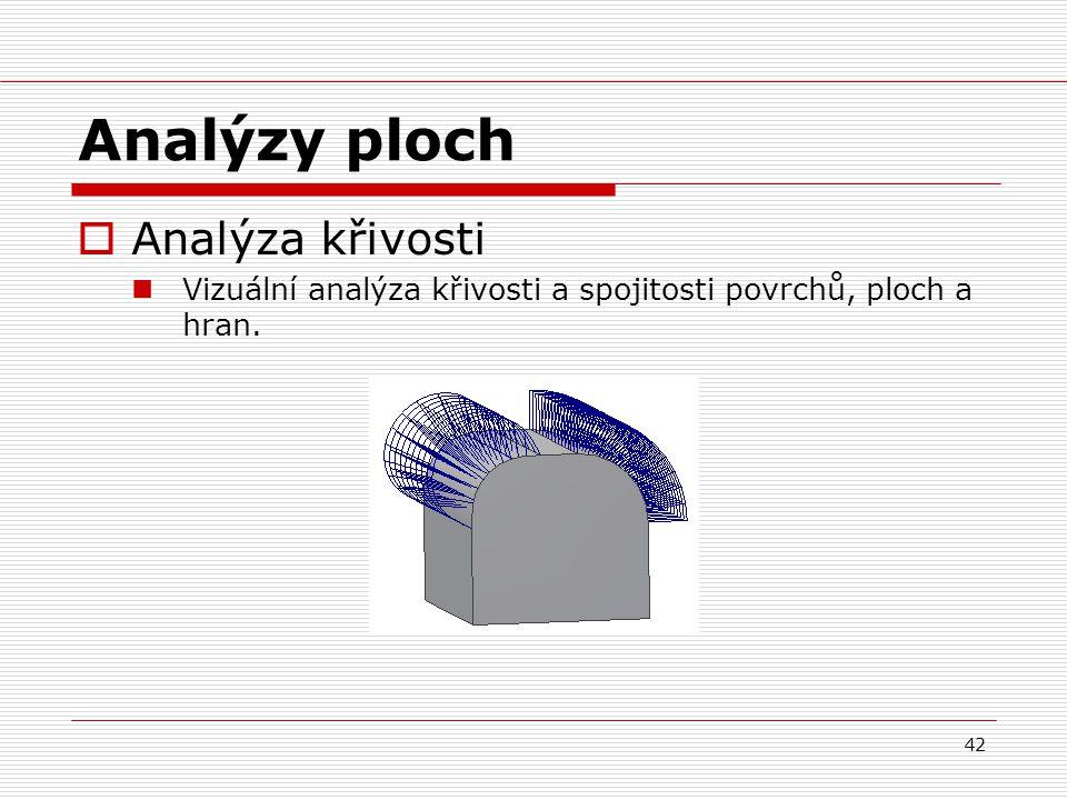 42 Analýzy ploch  Analýza křivosti Vizuální analýza křivosti a spojitosti povrchů, ploch a hran.
