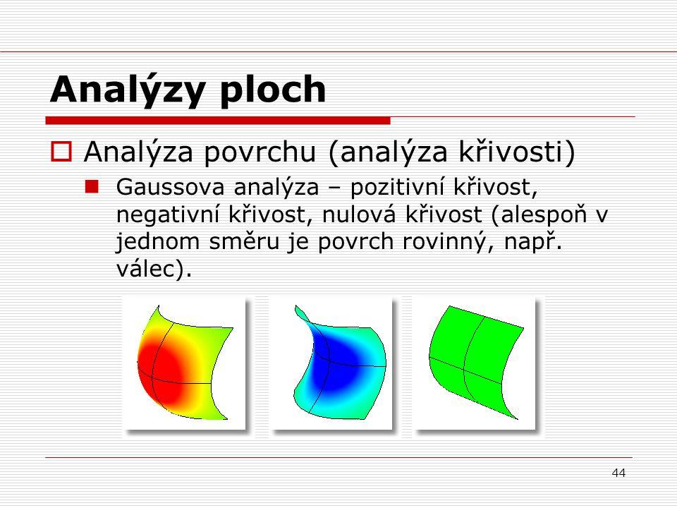 44 Analýzy ploch  Analýza povrchu (analýza křivosti) Gaussova analýza – pozitivní křivost, negativní křivost, nulová křivost (alespoň v jednom směru je povrch rovinný, např.