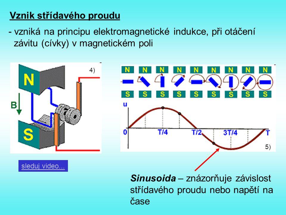Vznik střídavého proudu - vzniká na principu elektromagnetické indukce, při otáčení závitu (cívky) v magnetickém poli 4) 5) sleduj video... Sinusoida