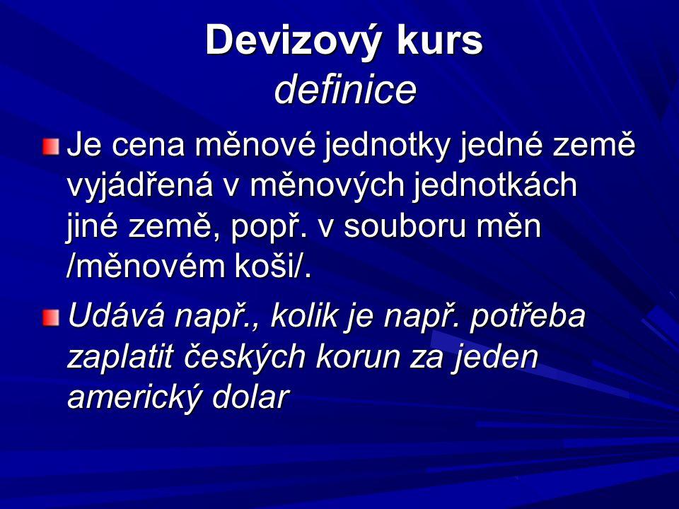 Devizový kurs definice Devizový kurs definice Je cena měnové jednotky jedné země vyjádřená v měnových jednotkách jiné země, popř.