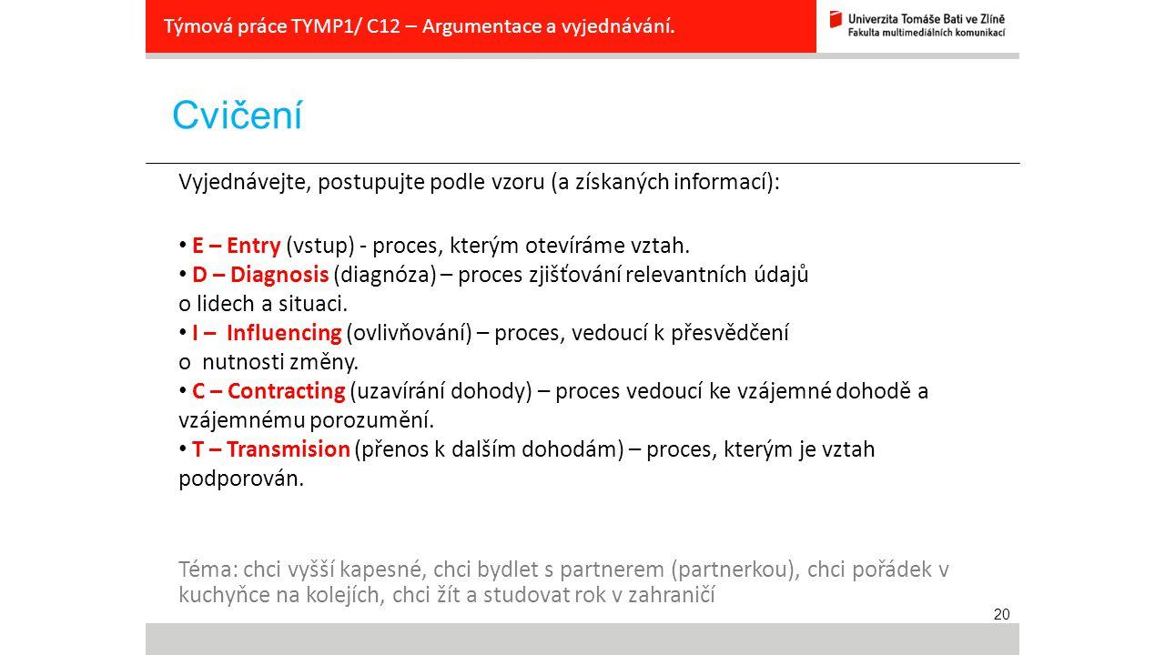 20 Cvičení Týmová práce TYMP1/ C12 – Argumentace a vyjednávání. Vyjednávejte, postupujte podle vzoru (a získaných informací): E – Entry (vstup) - proc