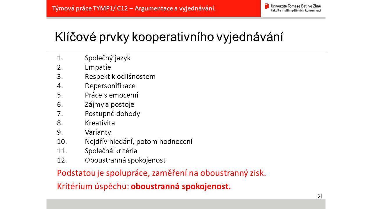 31 Klíčové prvky kooperativního vyjednávání Týmová práce TYMP1/ C12 – Argumentace a vyjednávání. 1. Společný jazyk 2. Empatie 3. Respekt k odlišnostem