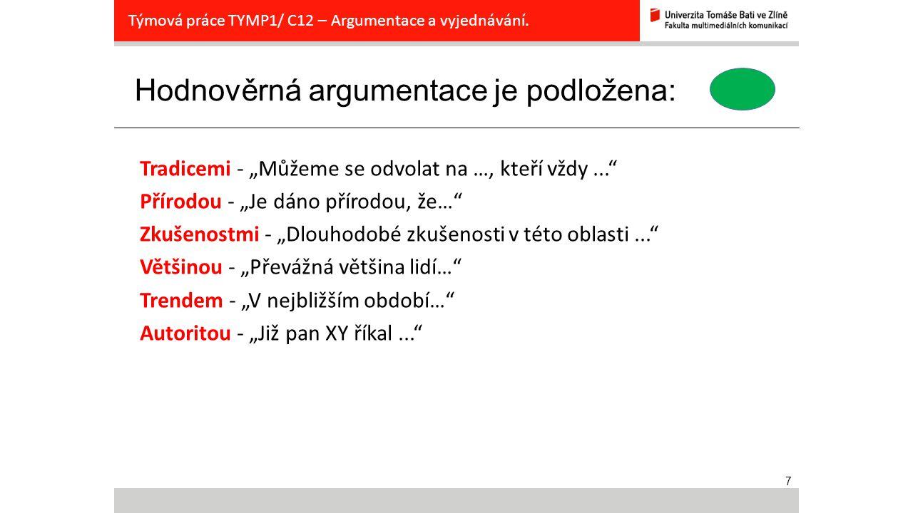 8 Prestižní argumentace je podložena: Týmová práce TYMP1/ C12 – Argumentace a vyjednávání.