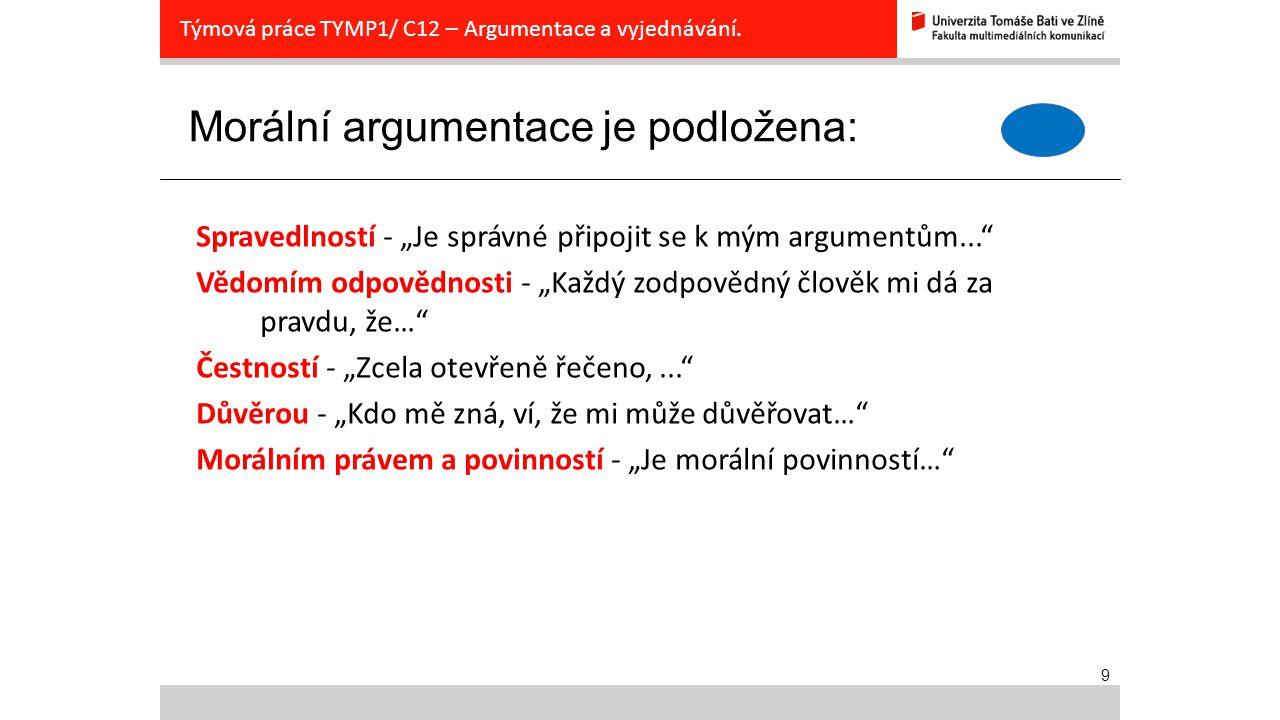 """9 Morální argumentace je podložena: Týmová práce TYMP1/ C12 – Argumentace a vyjednávání. Spravedlností - """"Je správné připojit se k mým argumentům..."""""""