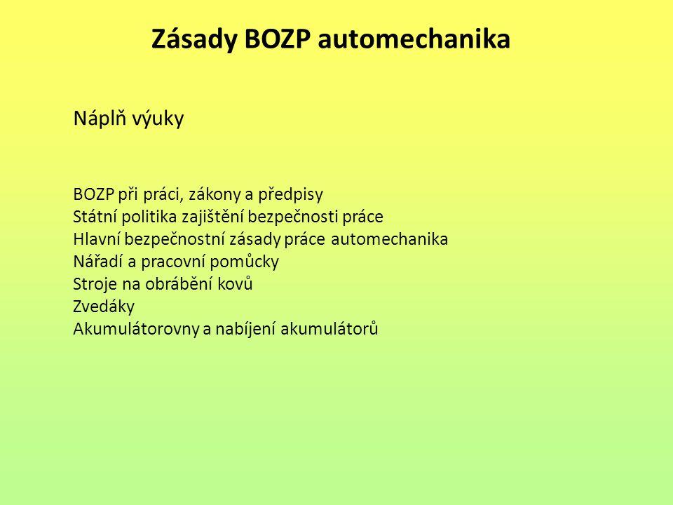 Zásady BOZP automechanika Náplň výuky BOZP při práci, zákony a předpisy Státní politika zajištění bezpečnosti práce Hlavní bezpečnostní zásady práce a