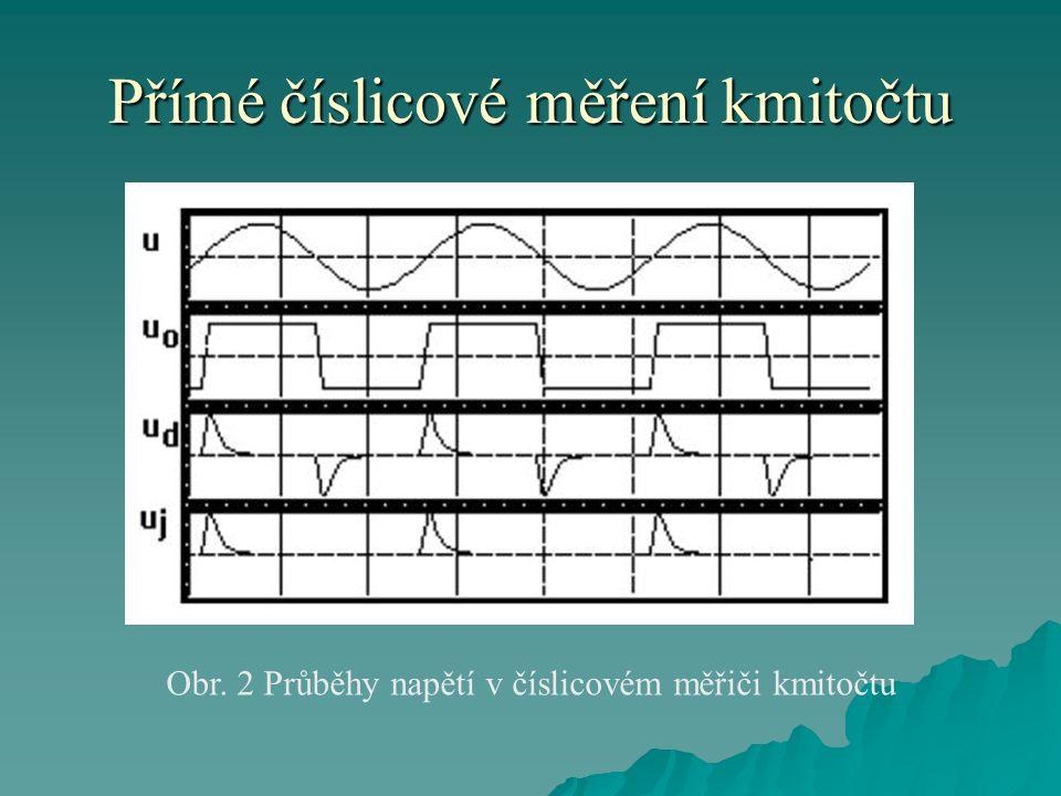 Přímé číslicové měření kmitočtu  Průběhy napětí v číslicovém měřiči kmitočtu jsou uvedeny na obr.