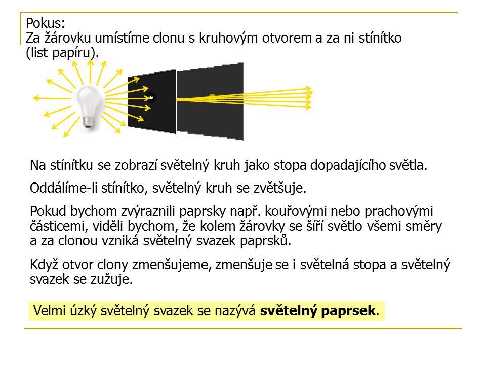 Pokus: Za žárovku umístíme clonu s kruhovým otvorem a za ni stínítko (list papíru). Na stínítku se zobrazí světelný kruh jako stopa dopadajícího světl