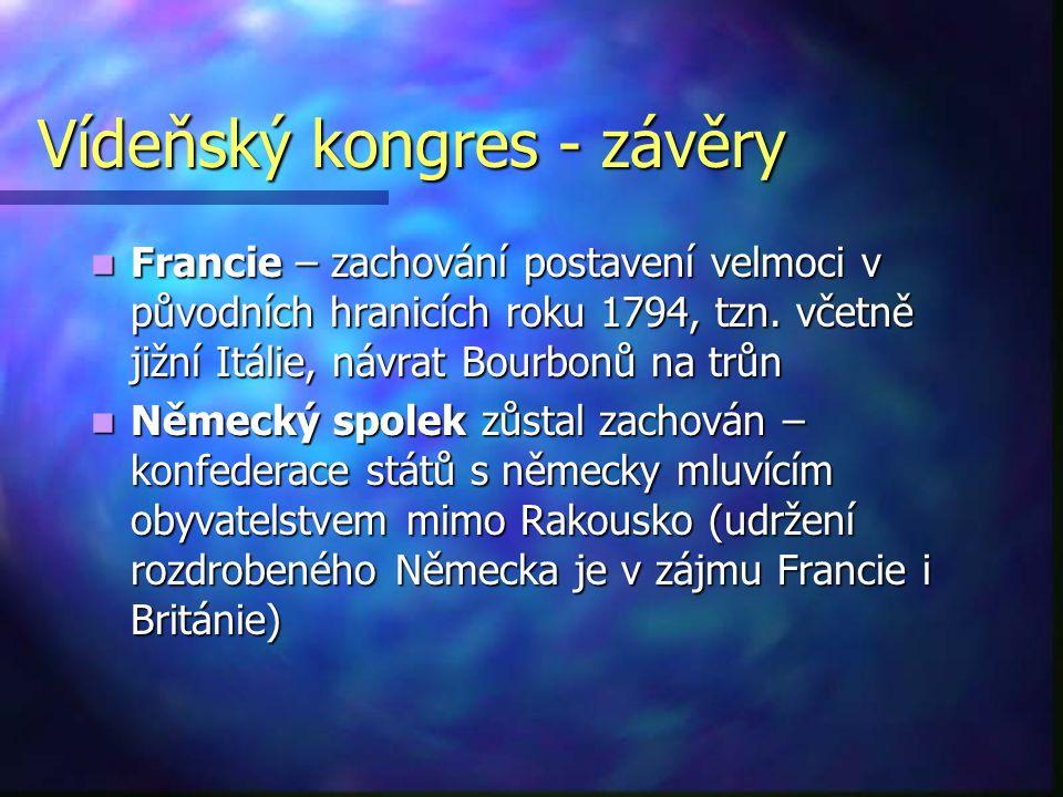 Vídeňský kongres - závěry Francie – zachování postavení velmoci v původních hranicích roku 1794, tzn. včetně jižní Itálie, návrat Bourbonů na trůn Fra