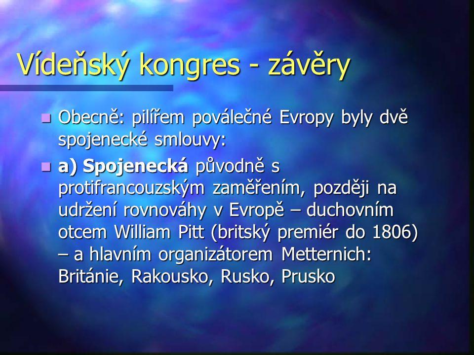 Vídeňský kongres - závěry Obecně: pilířem poválečné Evropy byly dvě spojenecké smlouvy: Obecně: pilířem poválečné Evropy byly dvě spojenecké smlouvy: