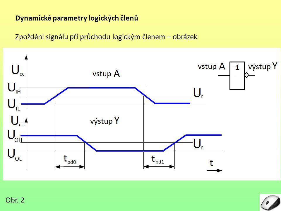 Dynamické parametry logických členů Zpožděni signálu při průchodu logickým členem – obrázek Obr. 2