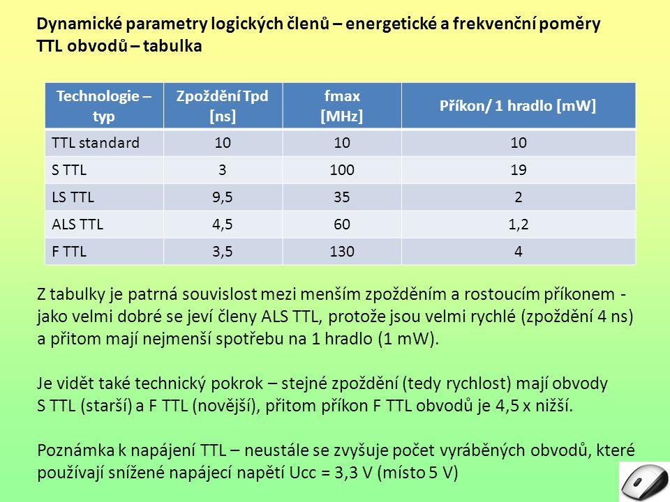 Dynamické parametry logických členů – energetické a frekvenční poměry TTL obvodů – tabulka Technologie – typ Zpoždění Tpd [ns] fmax [MHz] Příkon/ 1 hr