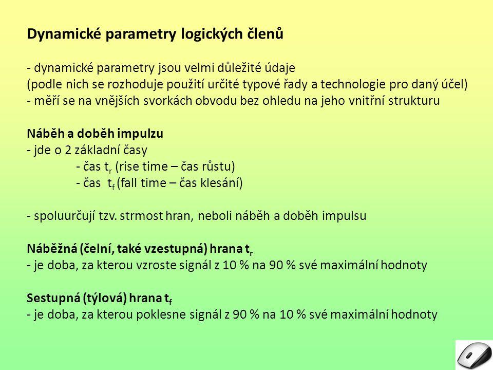 """Dynamické parametry logických členů Náběh a doběh impulzu DobaOznačeníZměna signálu """"t r Rise – vzestupná hrana (čelo)z 10 na 90 % max."""