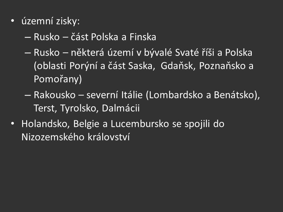 územní zisky: – Rusko – část Polska a Finska – Rusko – některá území v bývalé Svaté říši a Polska (oblasti Porýní a část Saska, Gdaňsk, Poznaňsko a Po