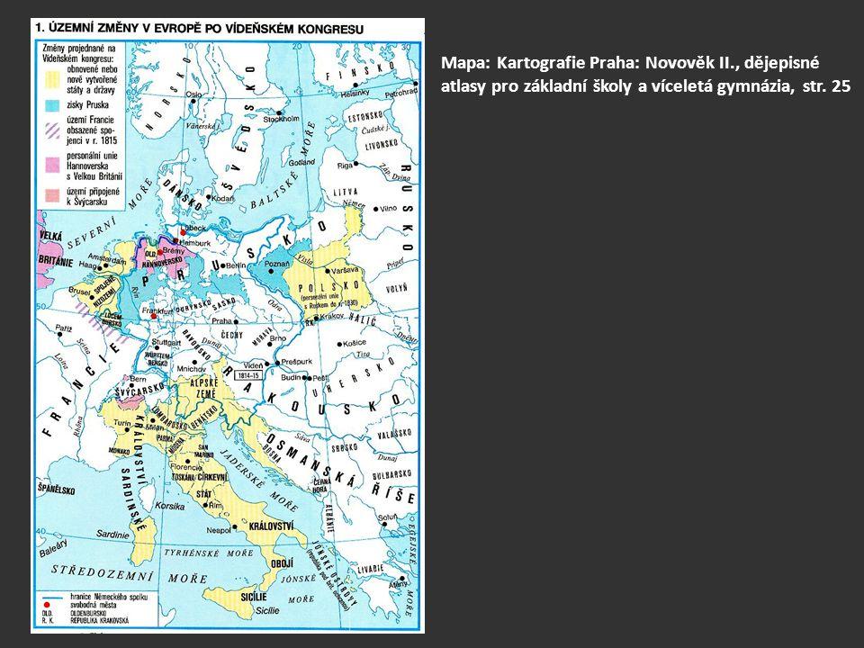 vytvořen Německý spolek – sdružoval bývalé státy svaté říše – z 200 původních státečků vytvořeno 39 států a svobodných měst (včetně českého království) spolkový sněm ve Frankfurtu nad Mohanem, předsedalo Rakousko 1815 dohoda Svatá aliance mezi Ruskem, Rakouskem, Pruskem (ruským carem Alexandrem I., rakouským císařem Františkem I.