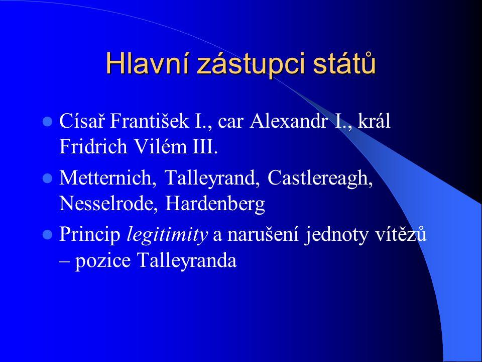 Hlavní zástupci států Císař František I., car Alexandr I., král Fridrich Vilém III. Metternich, Talleyrand, Castlereagh, Nesselrode, Hardenberg Princi
