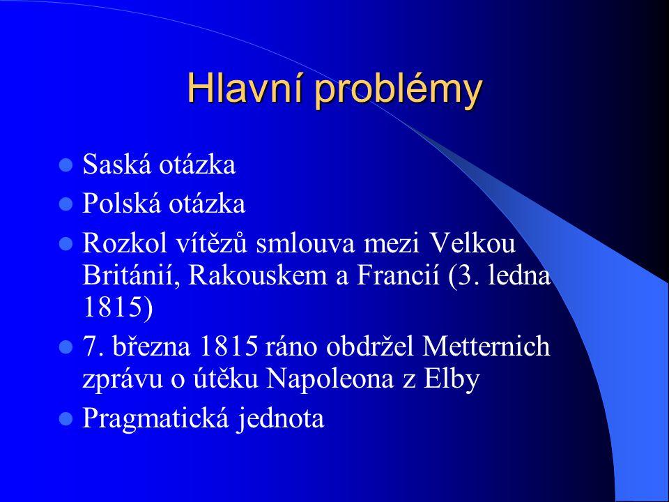 Hlavní problémy Saská otázka Polská otázka Rozkol vítězů smlouva mezi Velkou Británií, Rakouskem a Francií (3. ledna 1815) 7. března 1815 ráno obdržel