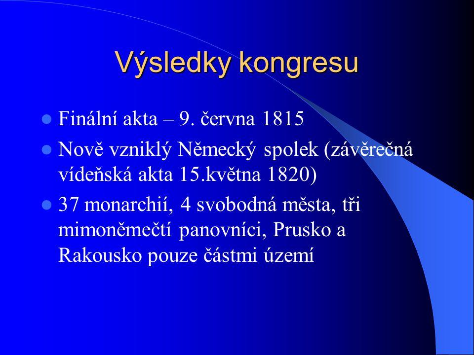 Výsledky kongresu Finální akta – 9. června 1815 Nově vzniklý Německý spolek (závěrečná vídeňská akta 15.května 1820) 37 monarchií, 4 svobodná města, t
