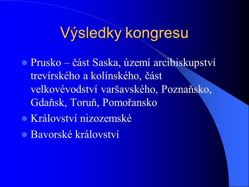 Výsledky kongresu Prusko – část Saska, území arcibiskupství trevírského a kolínského, část velkovévodství varšavského, Poznaňsko, Gdaňsk, Toruň, Pomoř