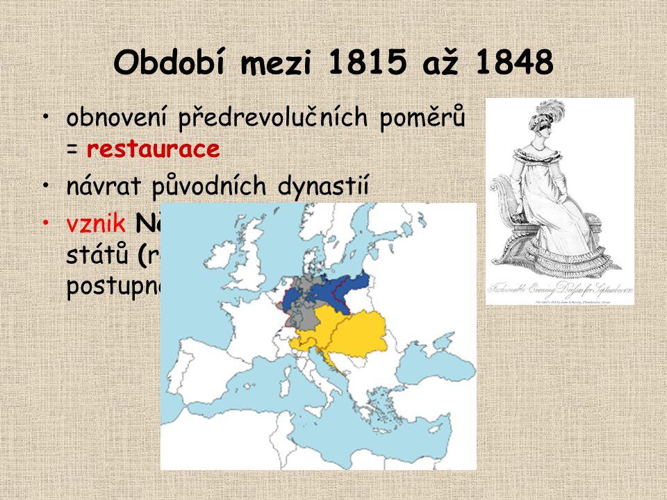 Období mezi 1815 až 1848 obnovení předrevolučních poměrů = restaurace návrat původních dynastií vznik Německého spolku – 30 států (rozhodující vliv Ra