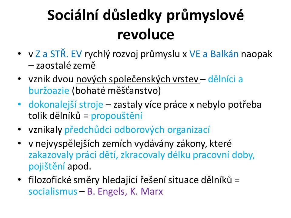 Sociální důsledky průmyslové revoluce v Z a STŘ. EV rychlý rozvoj průmyslu x VE a Balkán naopak – zaostalé země vznik dvou nových společenských vrstev