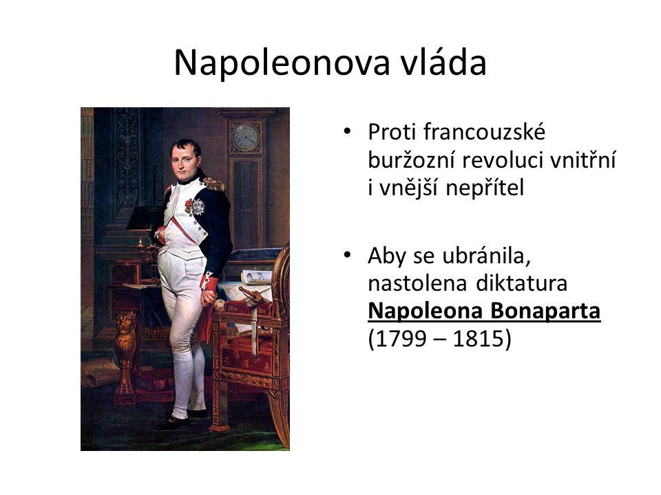 Napoleonova vláda Proti francouzské buržozní revoluci vnitřní i vnější nepřítel Aby se ubránila, nastolena diktatura Napoleona Bonaparta (1799 – 1815)