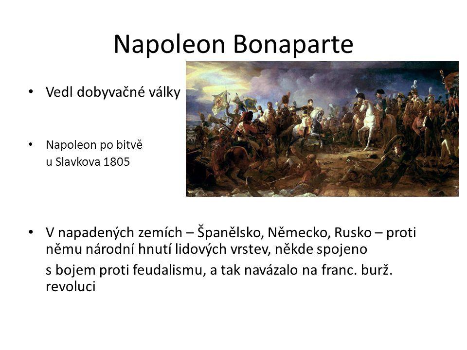 Napoleon Bonaparte Vedl dobyvačné války Napoleon po bitvě u Slavkova 1805 V napadených zemích – Španělsko, Německo, Rusko – proti němu národní hnutí lidových vrstev, někde spojeno s bojem proti feudalismu, a tak navázalo na franc.