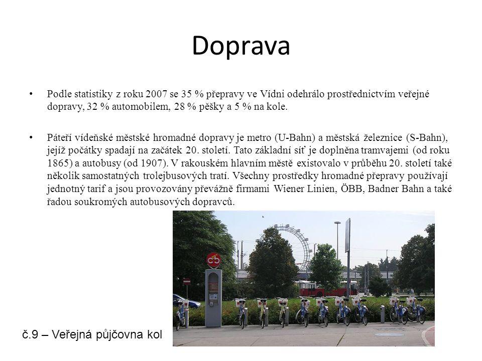 Doprava Podle statistiky z roku 2007 se 35 % přepravy ve Vídni odehrálo prostřednictvím veřejné dopravy, 32 % automobilem, 28 % pěšky a 5 % na kole. P