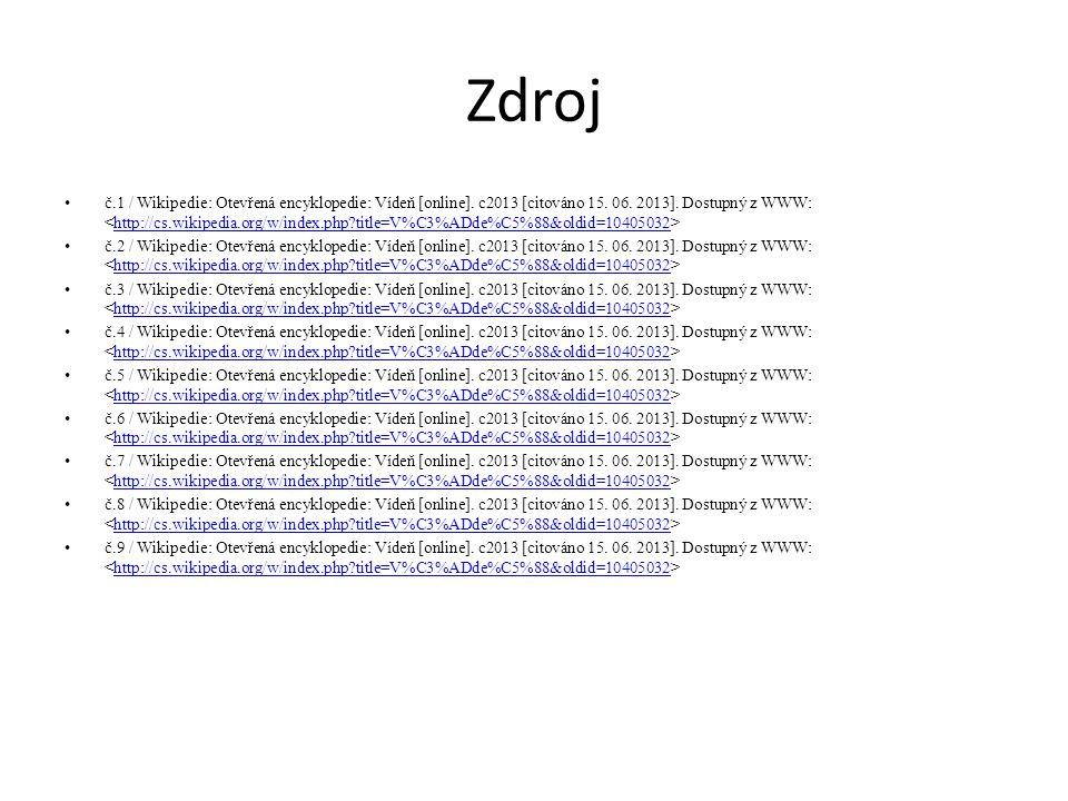 Zdroj č.1 / Wikipedie: Otevřená encyklopedie: Vídeň [online]. c2013 [citováno 15. 06. 2013]. Dostupný z WWW: http://cs.wikipedia.org/w/index.php?title