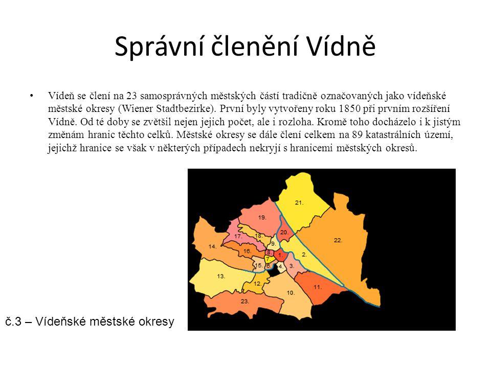Správní členění Vídně Vídeň se člení na 23 samosprávných městských částí tradičně označovaných jako vídeňské městské okresy (Wiener Stadtbezirke). Prv
